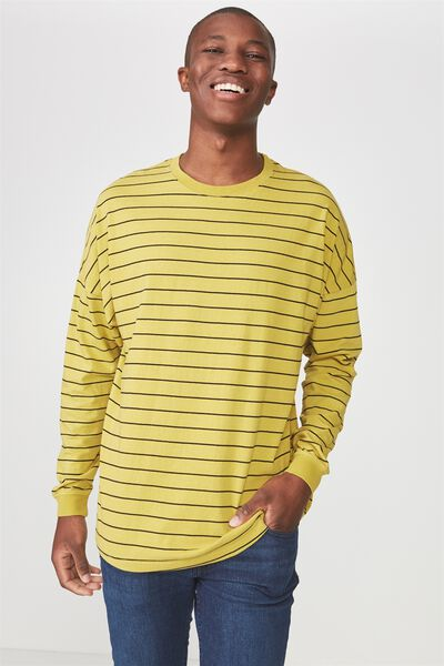 Drop Shoulder Long Sleeve, BAMBOO YELLOW/WASHED BLACK STRIPE