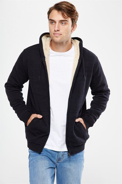 Zip Thru Sherpa Hoody, BLACK TEXTURE