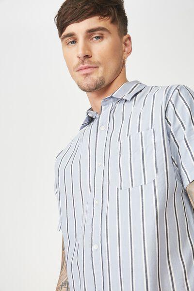 Vintage Prep Short Sleeve Shirt, SKY NAVY STRIPE