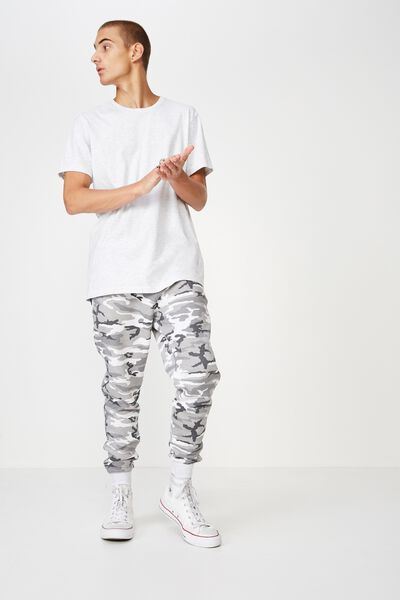 Trippy Slim Trackie, SNOW CAMO GREY