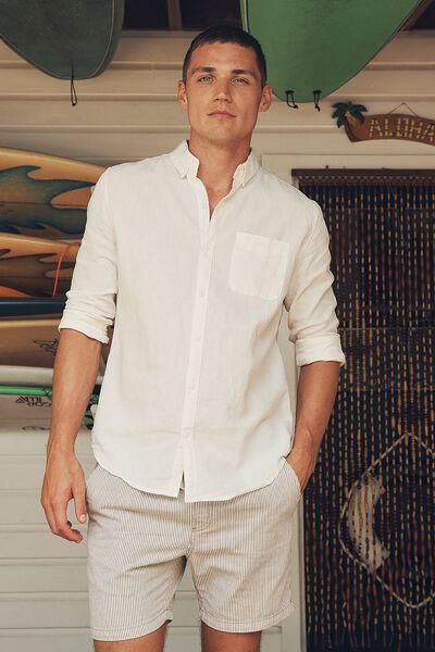 Premium Linen Cotton Long Sleeve Shirt, WHITE