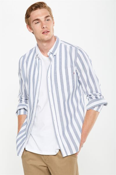 Brunswick Shirt 3, WHITE DENIM/STRIPE