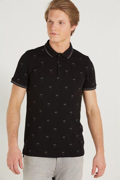 Short Sleeve Prep Polo Slim Fit, BLACK