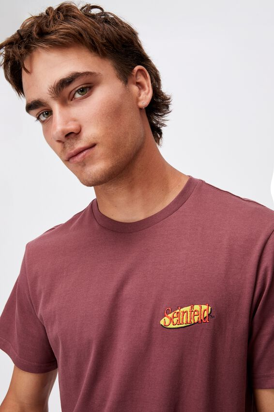 Tbar Collab Movie And Tv T-Shirt, LCN WB AGED WINE/SEINFELD-LOGO EMBROIDERY