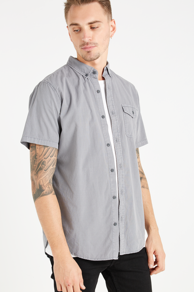 Easy Washed Short Sleeve Shirt, ABYSS