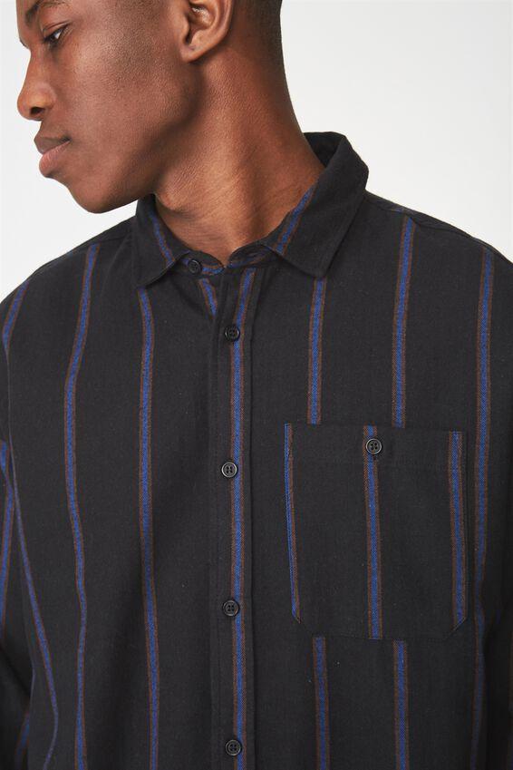 Rugged Long Sleeve Shirt, BLACK BLUE BROWN VERT STRIPE