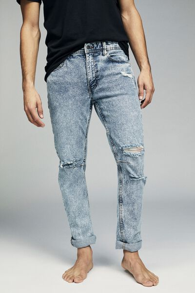 Tapered Leg Jean, BLUE STONE + RIPS