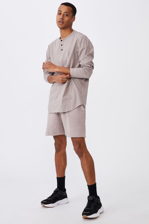 Longline Scoop Henley Long Sleeve T-Shirt, DUSK