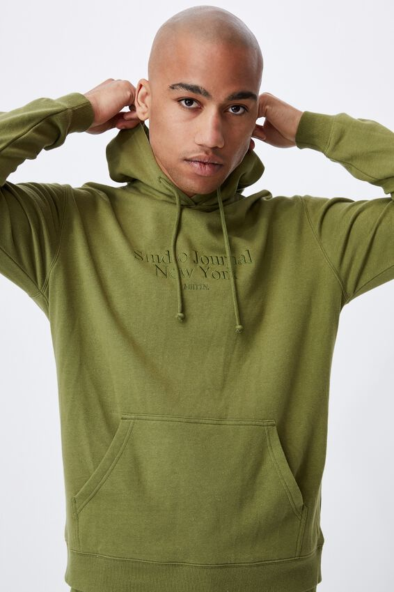 Graphic Fleece Pullover, GRASS GREEN/STUDIO JOURNAL