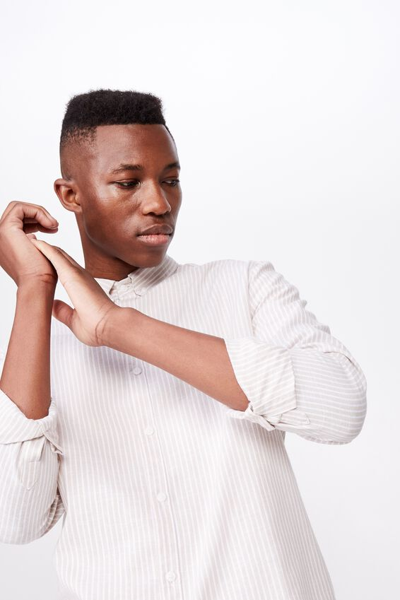 Premium Linen Cotton Long Sleeve Shirt, TAN WHITE STRIPE