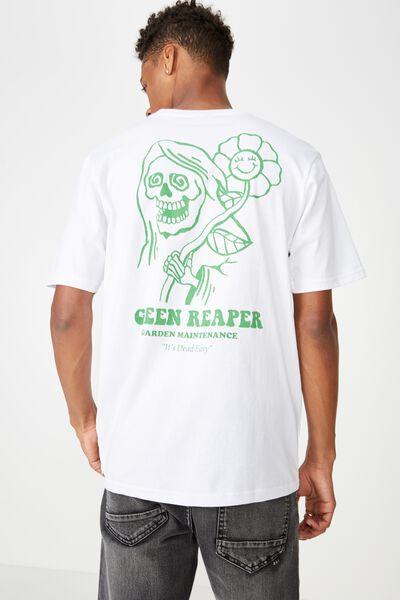 Street T-Shirt, WHITE/GREEN REAPER