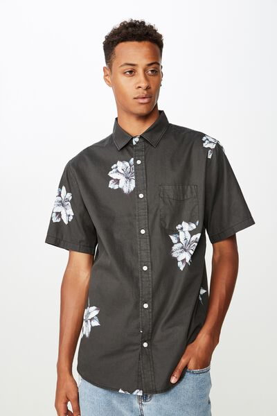 Short Sleeve Resort Shirt, SPACED HIBISCUS