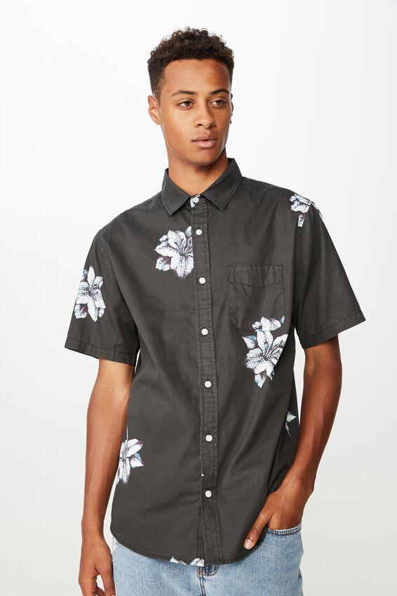 Short Sleeve Resort Shirt, SPACED HIBISCUS