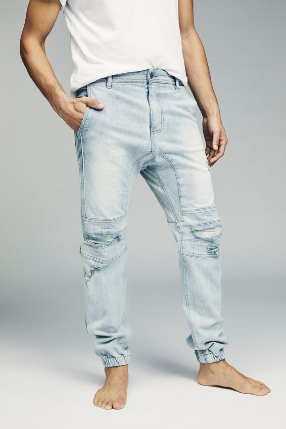 Slim Denim Jogger, MOTO BLUE RIPS