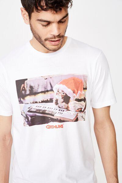 Tbar Collab Xmas T-Shirt, LCN WB WHITE/GREMLINS - CHRISTMAS