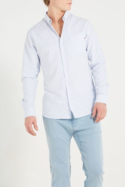 Brunswick Shirt 3, MICRO BLUE STRIPE