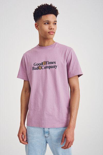 Tbar Text T-Shirt, CADET PURPLE/GOOD TIMES BAD COMPANY