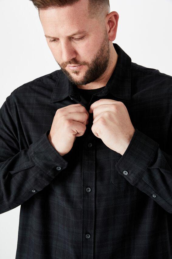 Bg Rugged Long Sleeve Shirt, BLACK CHECK