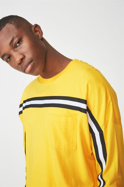 Drop Shoulder Long Sleeve, SAFETY YELLOW/BLACK/WHITE TAPING