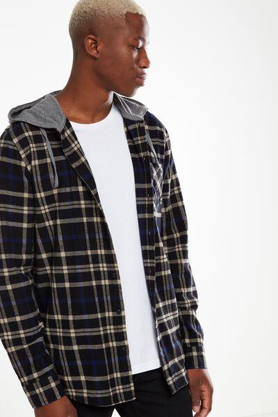 Rugged Hooded Shirt, BLACK GREY WINDOW CHECK
