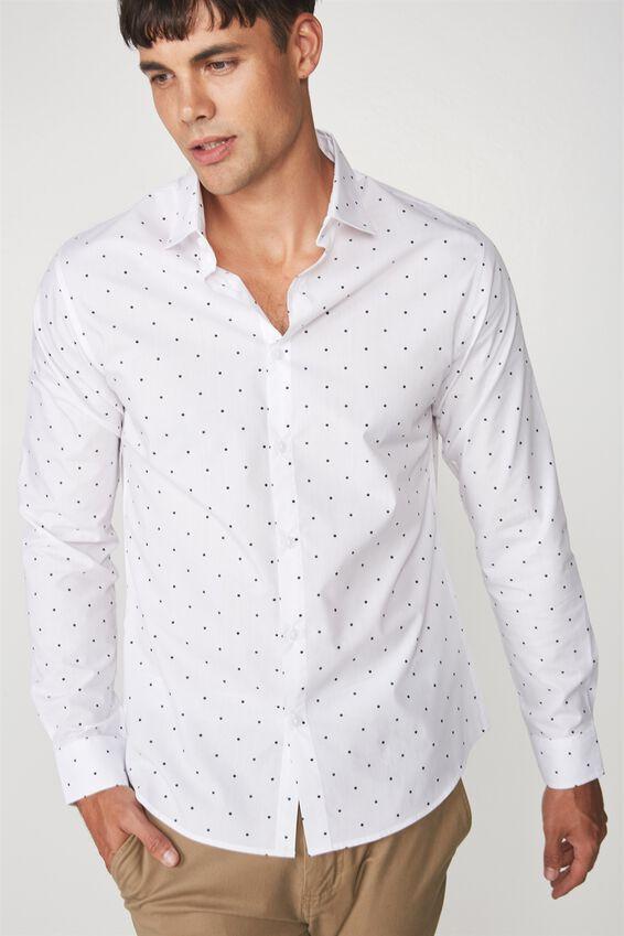 Slim Smart Shirt, WHITE BLACK/BOTTLE DOT