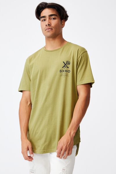 Longline Scoop T-Shirt, GRASS GREEN/SOHO ROSE