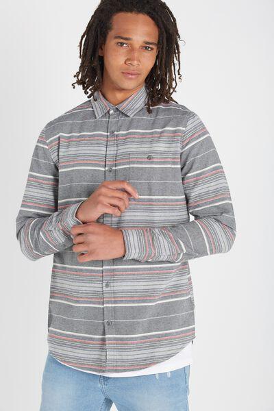 Rugged Long Sleeve Shirt, CHARCOAL STRIPE