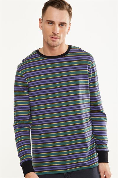 Tbar Long Sleeve, PURPLE/GREEN/GOLD/BLACK STRIPE