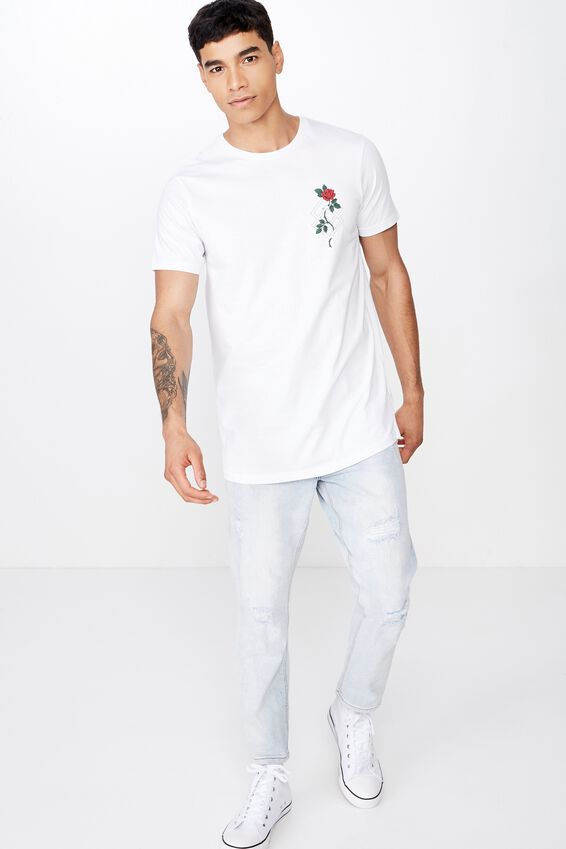 Longline Scoop Hem Tee, WHITE/CREEPING ROSE