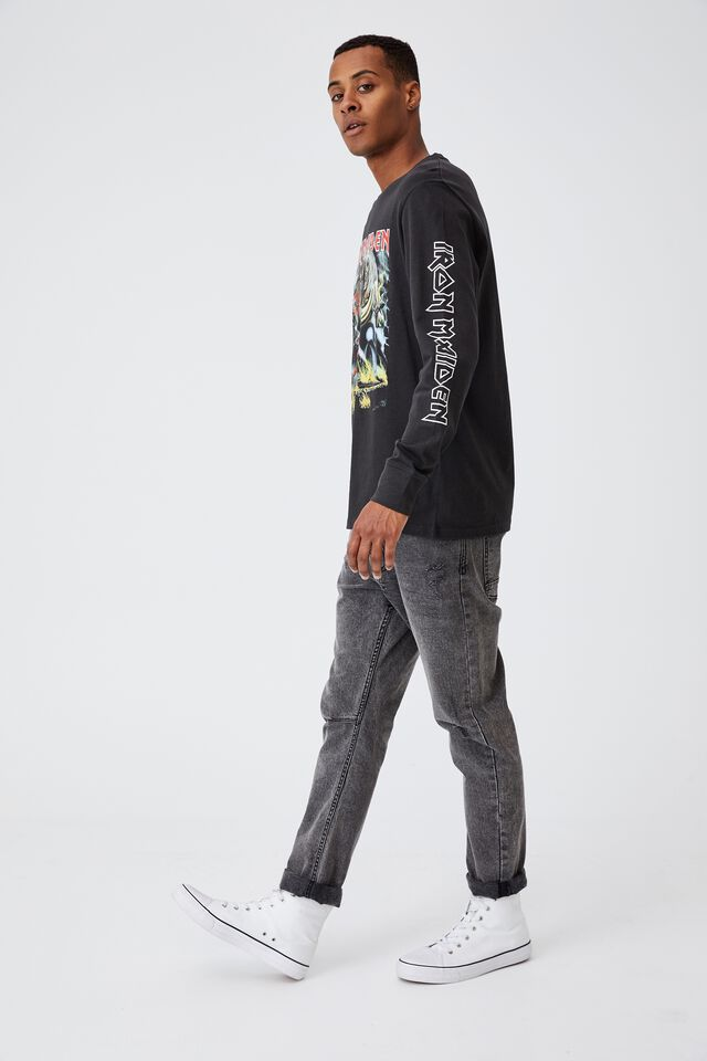 Tbar Collab Long Sleeve T-Shirt, LCN IM WASHED BLACK/IRON MAIDEN-NUMBER OF THE