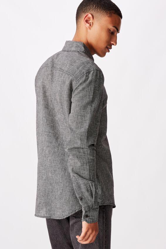 Textured Long Sleeve Shirt, BLACK