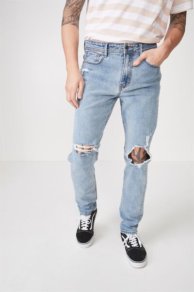 Tapered Leg Jean, 70's BLUE BLOWOUT
