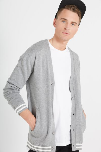 Preppy Cardi Knit, GREY MARLE