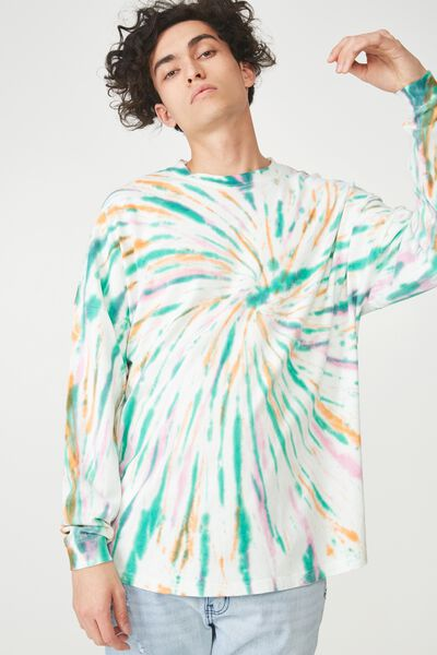 Drop Shoulder Long Sleeve, WHITE TIE DYE