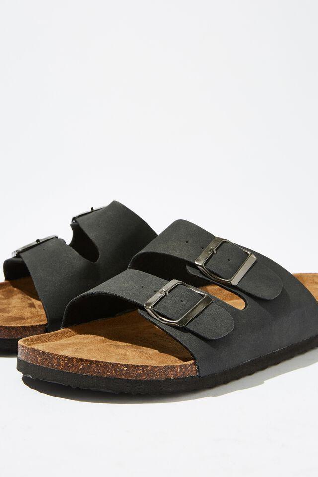 Double Buckle Sandal, BLACK