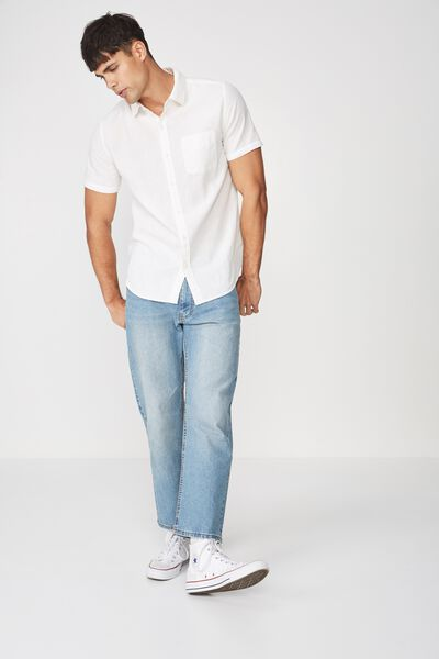 Premium Linen Cotton Short Sleeve Shirt, WHITE