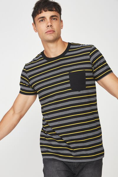Textured Pocket Tee, BLACK/WHITE/SAFETY YELLOW STRIPE/ BLACK POCKET & N