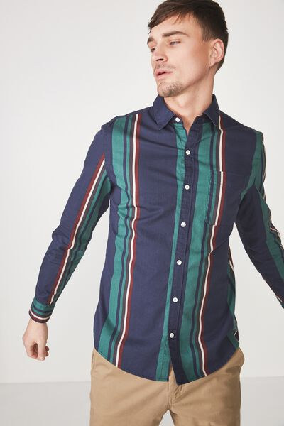 Troubadour Shirt, NAVY GREEN STRIPE