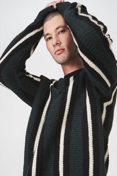 Box Crew Knit, GREEN BLACK STRIPE