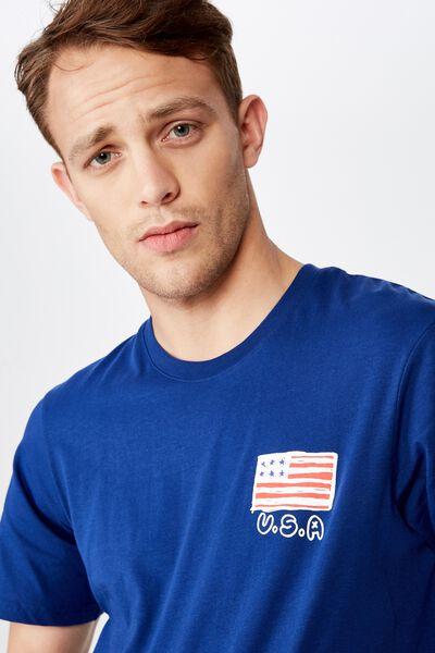 4Th July T-Shirt, LIMOGES BLUE/USA SKETCH