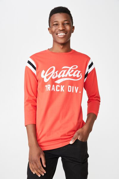 Tbar 3/4 Baseball Tee, STRONG RED/OAKLAND TRACK DIV