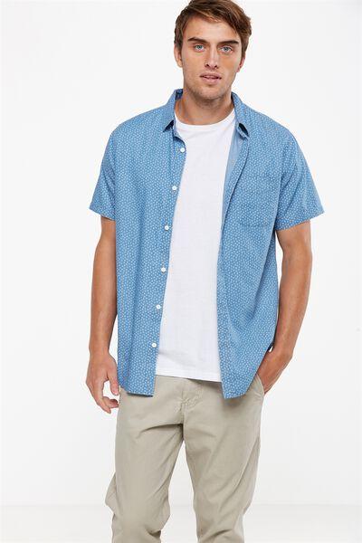 Vintage Prep Short Sleeve Shirt, MID CHAMBRAY DIAMOND DITSY