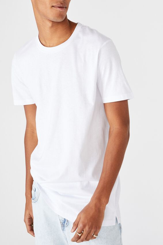 Essential Longline Scoop T-Shirt, WHITE