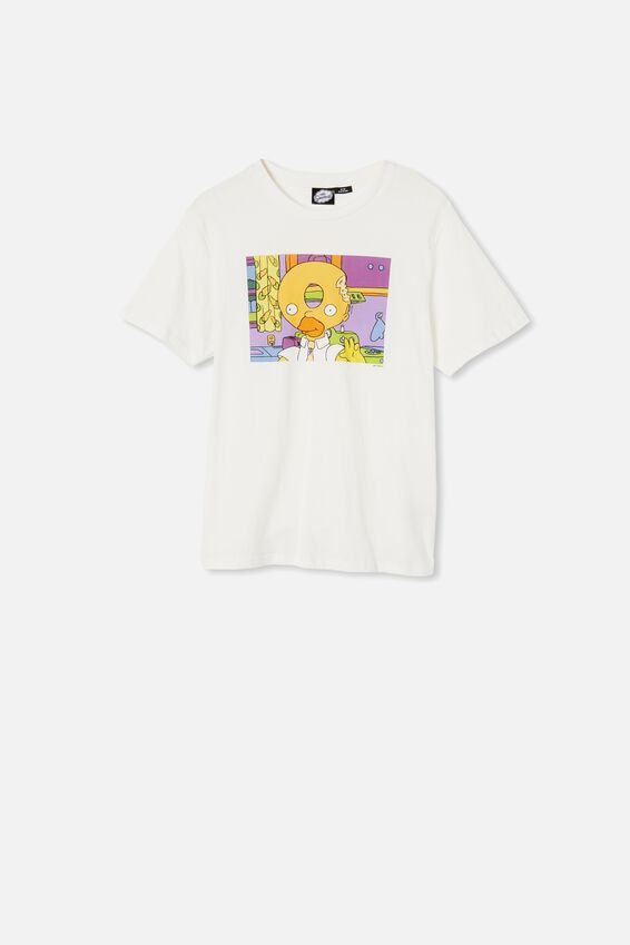 Tbar Collab Movie And Tv T-Shirt, LCN DIS VINTAGE WHITE/SIMPSONS-DOUGHNUT HEAD