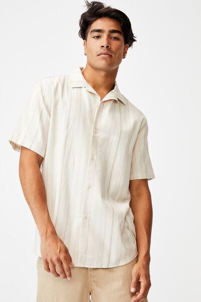 Textured Short Sleeve Shirt, ECRU STRIPE