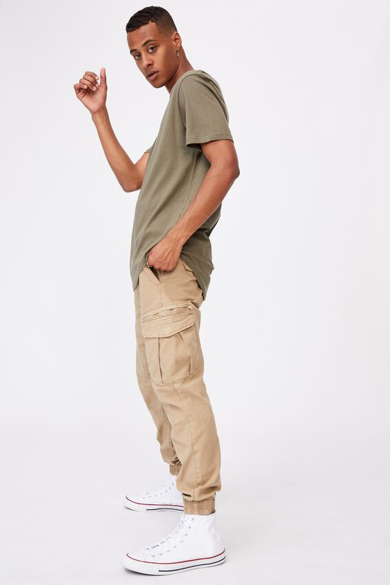 Essential Longline Scoop T-Shirt, MILITARY
