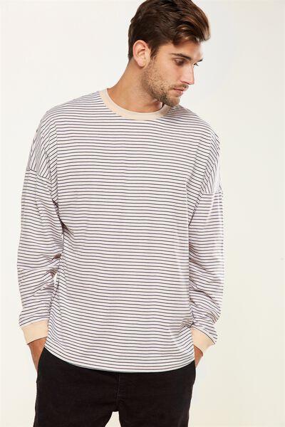 Drop Shoulder Long Sleeve, IVORY/WHITE/FADED SLATE STRIPE