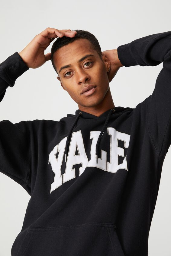 Premium Collab Fleece Pullover, LCN YAL WASHED BLACK/YALE-VINTAGE LOGO