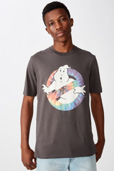 Tbar Collab Movie And Tv T-Shirt, LCN SO SK8 FADED SLATE/GHOSTBUSTERS - TIE DYE LOG