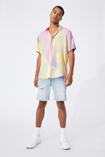Short Sleeve Collab Shirt, RAINBOW TIE DYE